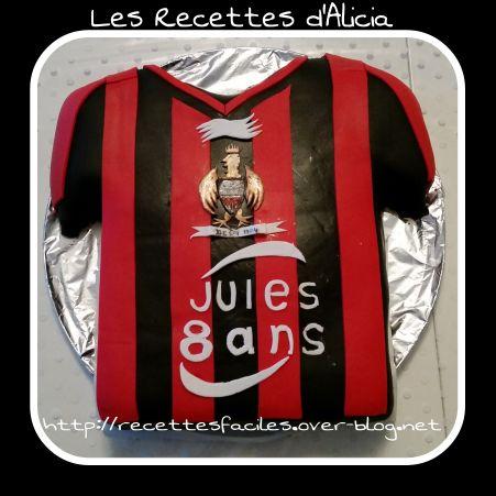 Gâteau maillot OGC Nice football cake design et pâte à sucre  foot OGCN