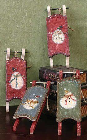 primitive snowmen wooden | Primitive Wooden Snowman Sled - Christmas Holiday Sale - Sales
