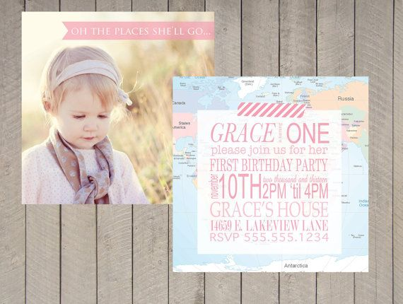 109 best Oh The Places Youu0027ll Go - First Birthday Party images on - fresh invitation card for first birthday of baby girl
