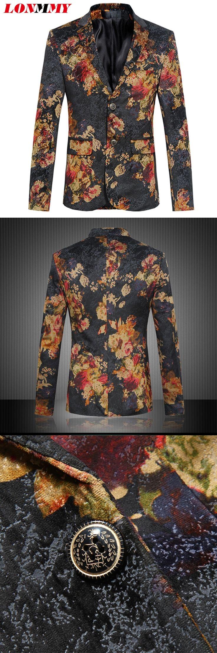 LONMMY M-6XL Mens floral blazer for men suit Slim fit mens blazer jacket flower suit men wedding dress 2017 New brand-clothing