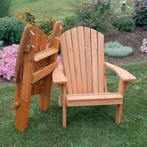A & L Furniture Cedar Folding Reclining Adirondack Chair