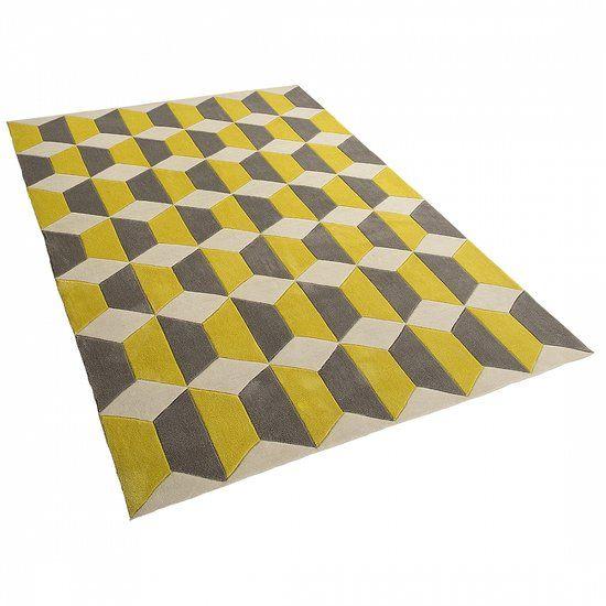 Tapijt grijs-geel, 80x150 cm, Kunststof, ANTALYA