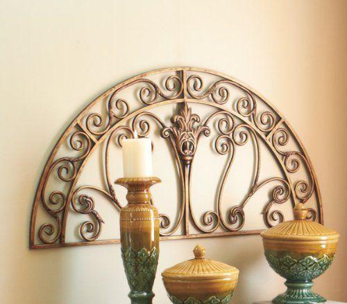 Elegant Iron Wall Decor : Elegant gold finish half moon scroll style iron wall art