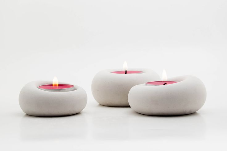Set of 3 white concrete tealight holders, Blub - by .ab concrete