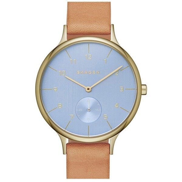 Skagen 'Anita' Leather Strap Watch, 34mm (1540 MAD) ❤ liked on Polyvore featuring jewelry, watches, skagen wrist watch, skagen watches, dial watches, skagen jewelry and skagen