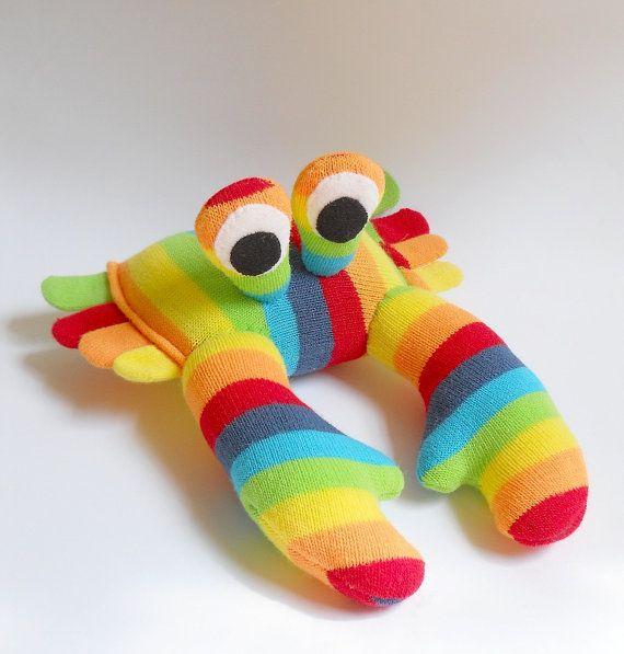 stuffed rainbow toy crab sock animal toy crab by TreacherCreatures, $25.00