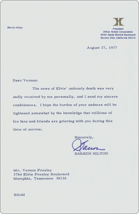August 17, 1977   Condolence Letter To Vernon Presley From Hotel Magnate  Barron Hilton.  Condolence Template