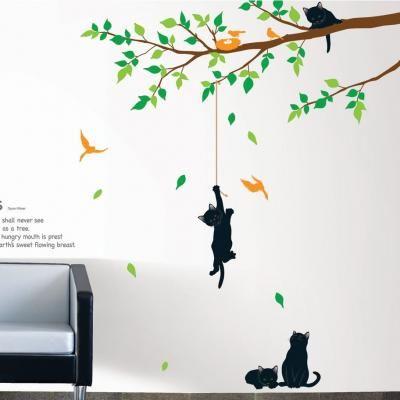 Stickers muraux fleurs - Sticker arbre et chats - ambiance-sticker.com