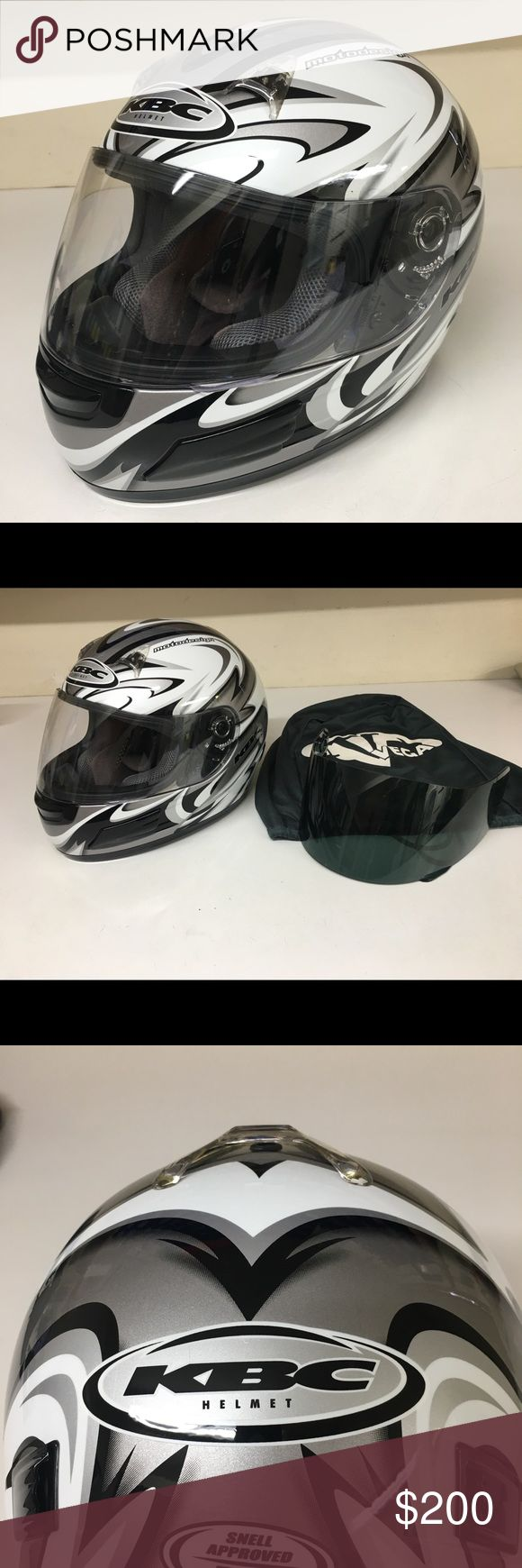 KBC TK-8 Excalibur Helmet w/ extra tinted visor Like Brand New! Worn twice. Comes with clear and tinted visor and protector bag. Size Small 55-56cm KBC Helmet Other