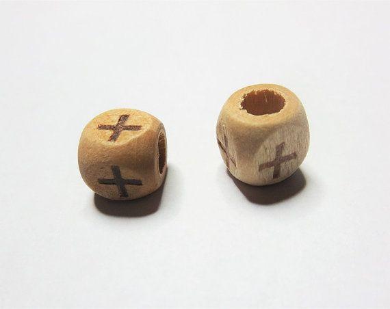 Cube Wood Cross Beads Burly Wood Beads Large Hole by TiStephani