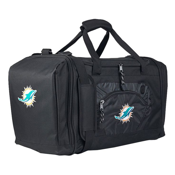 Miami dolphins nfl roadblock duffle bag black with
