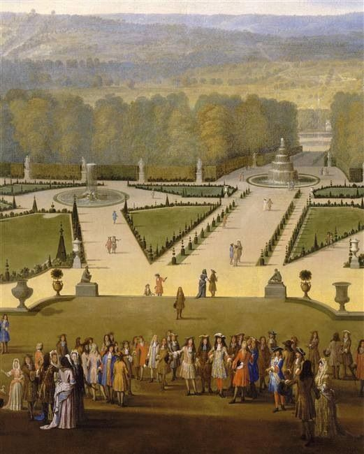 Louis XIV walking in the Gardens at Versailles with a view of  the North Parterre by Etienne Allegrain ca. 1693