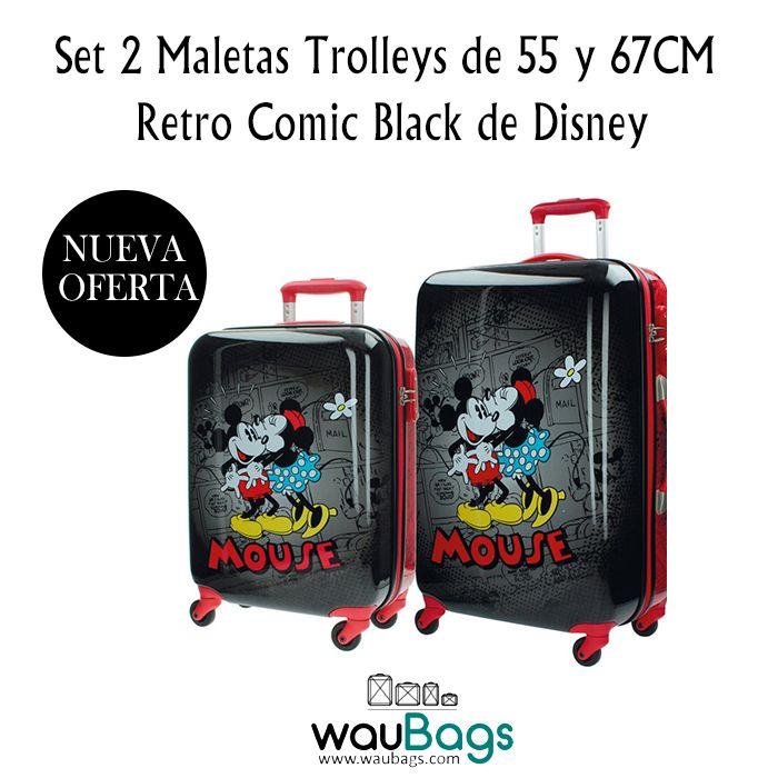 Consigue el Set de 2 Maletas Trolley de 55 y 67cm. Retro Comic Black de Disney, ahora por tan solo 175€!!  @waubags.com #disney #mickey #minnie #comic #retro #maletas #trolleys #set #oferta #descuento #rebajas #waubags