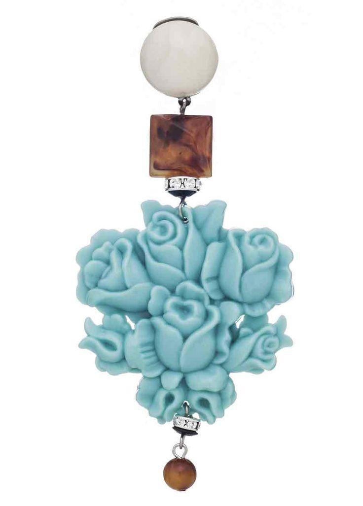 Gli orecchini, realizzati con resine sintetiche, sono caratterizzati da montature a clips. Leggeri e colorati esistono di vari modelli e forme, corti, lunghi, a bottone o con pendente.