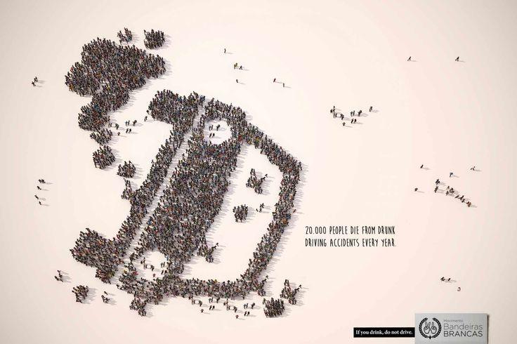 """""""20.000 personas mueren cada año en accidentes de tráfico por culpa del alcohol. Si bebes no conduzcas"""". Creación: Brunno Barbosa #publicidad"""