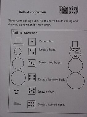 Snowman activities: Snowman dice game. I've heard of this before but this makes it so easy for even a little one to do!