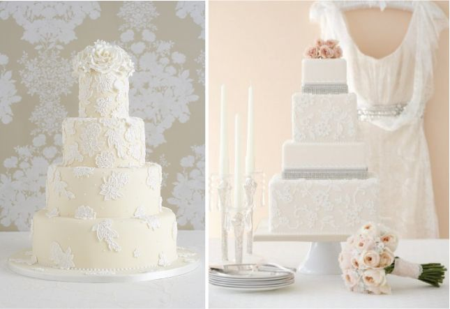 lace-inspired wedding cakes