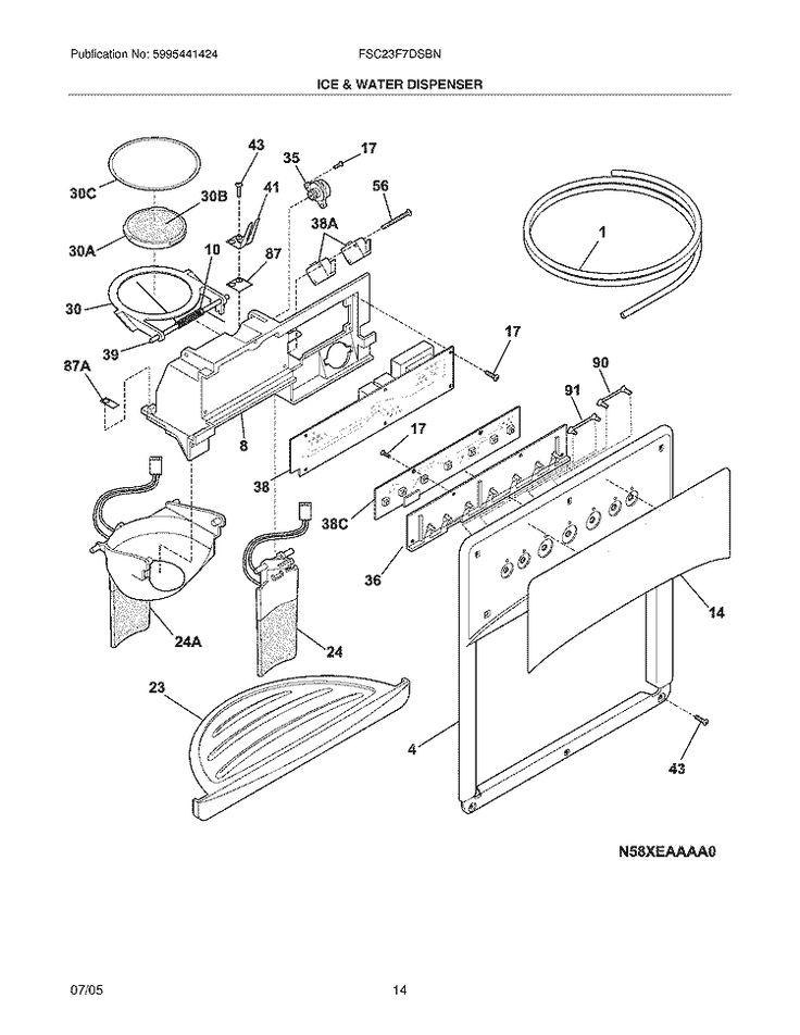 Frigidaire Refrigerator FSC23F7DSBN Parts List