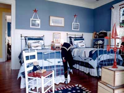 boys-room-decor-nautical-bedroom-kids-rooms: Wall Colors, Decor Ideas, Kids Rooms Decor, Shared Kids Rooms, Boys Bedrooms, Blue Wall, Boys Rooms, Twin Beds, Rooms Ideas