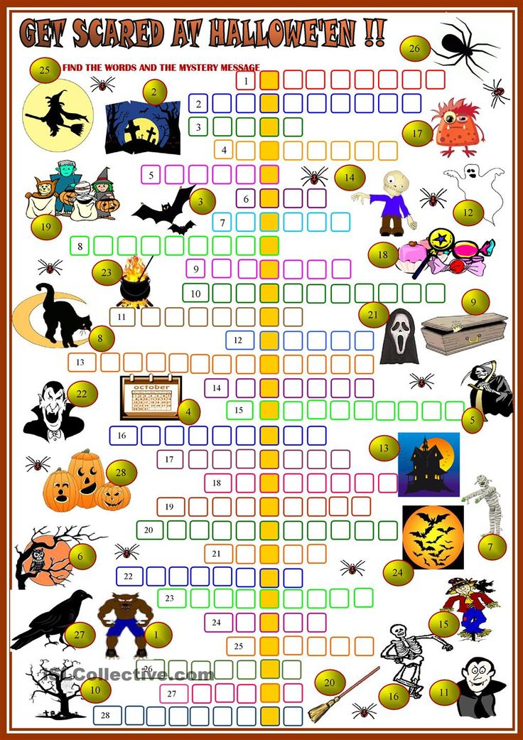 gat scared at halloween crossword 2 with key - Esl Halloween Games