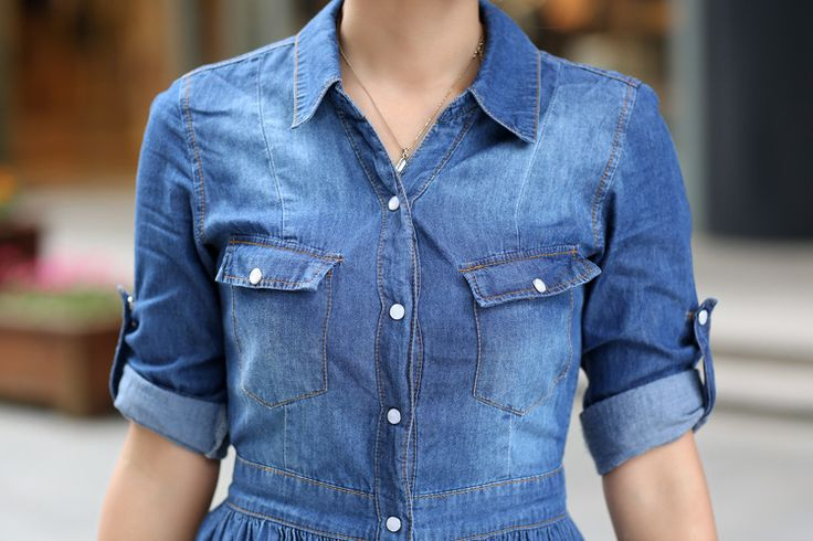 S-XXXL Size ! Free Shipping 2015 Newest Ladies Large Size Half Sleeve Polo Collar Denim Work Dress For Office Lady