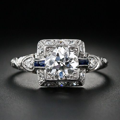 1.00 Carat Art Deco Diamond Engagement Ring - 10-1-4156 - Lang Antiques ac6980711ee