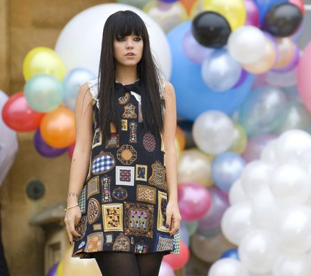 """Lily Allen in a still from the promotional music video for her single """"'The Fear"""" 2008, filmed in Wrest Park, Bedfordshire."""