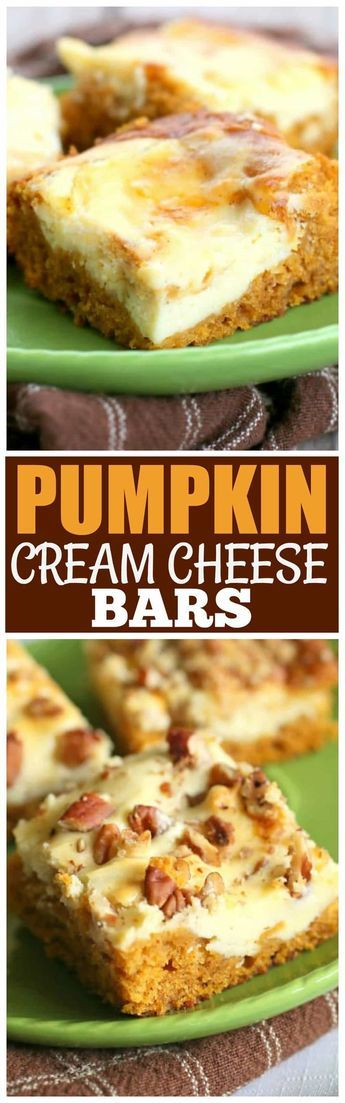 These Pumpkin Cream Cheese Bars are moist pumpkin bars with swirls of cream cheese throughout. This will be on your fall treat list every year. the-girl-who-ate-everything.com