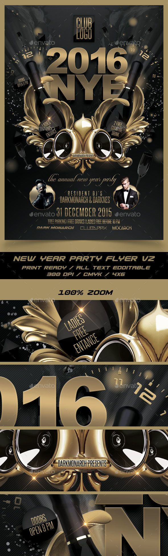 New Year Party Flyer Template PSD #design Download: http://graphicriver.net/item/new-year-party-flyer-v2/14100897?ref=ksioks