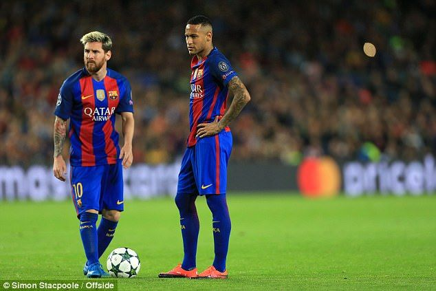 Neymar (right) may come up against Messi in the Champions League with PSG next season