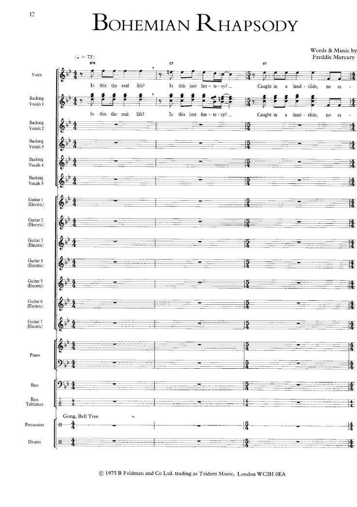 Bohemian Rhapsody  Queen  the ULTIMATE SCORE  Scribd