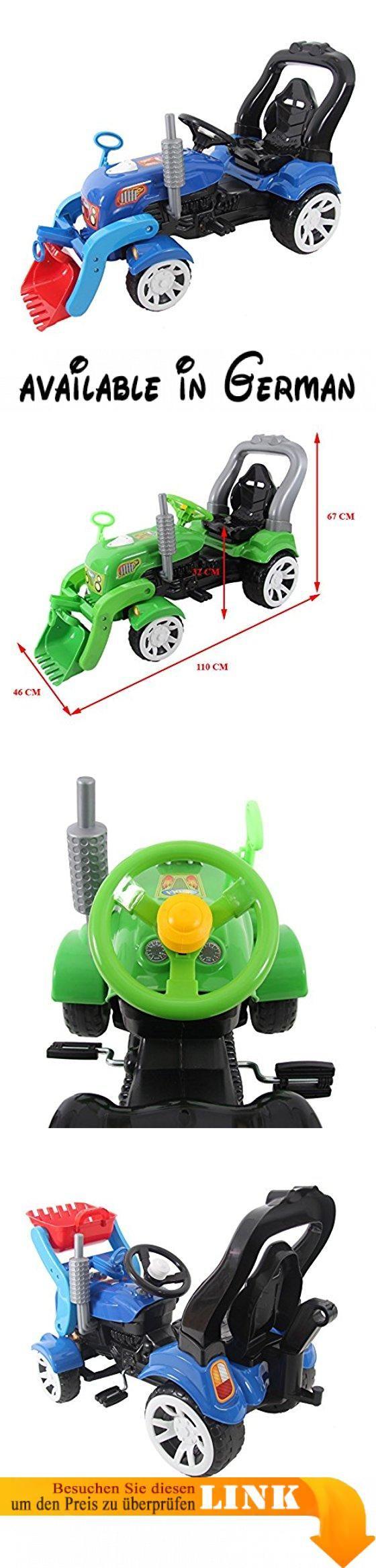 """Radlader Bagger 110cm Kindertraktor Trettraktor Tretauto Tretfahrzeug Traktor (blau). Unterstützung im Garten bekommen Eltern von ihrem Nachwuchs mit diesem Tretttraktor-Radlader """"Farmer""""! Der Trettraktor in verschiedenen Farbvariationen zur Auswahl  ist ein vielseitiger Traktor für langes und unbeschwertes Spielvergnügen.. Maße (L/B/H): ca. 110 x 46 x 67cm / Sitzhöhe: ca. 32 cm. der robuste Traktor mit Pedalantrieb ist mit einem bequemen Sitz ausgestattet. Farben vom"""