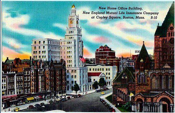 Vintage Boston Postcard Boylston Street At Copley Square