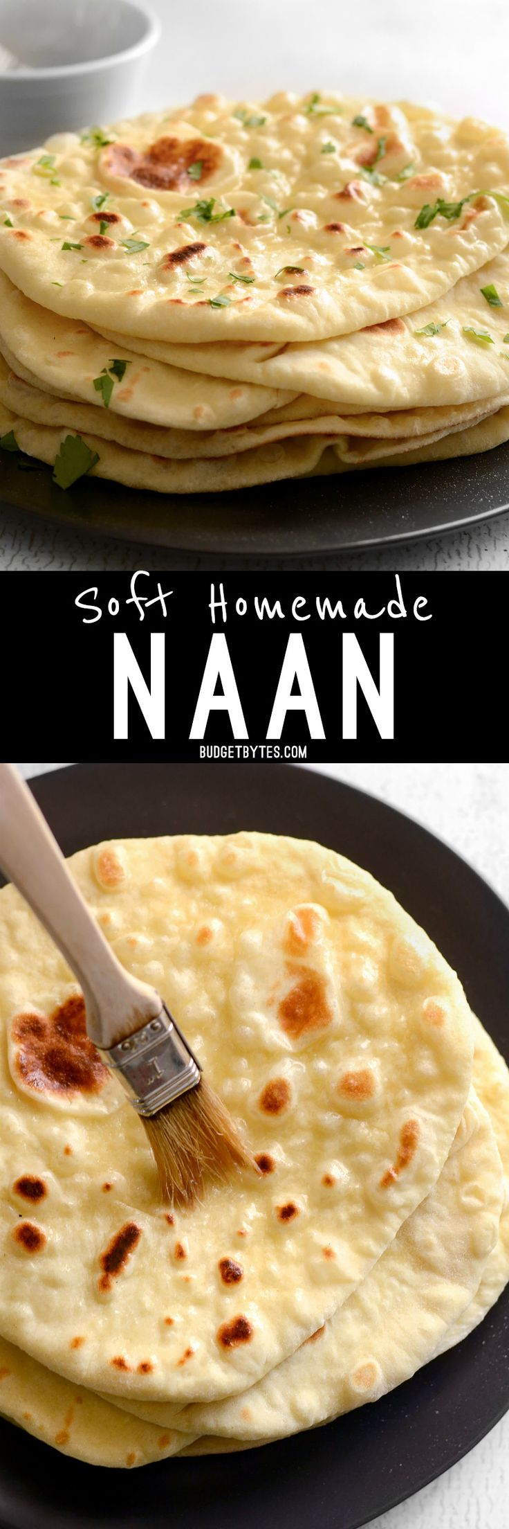 ( ^o^ )  Soft, pillowy, homemade naan is easier to make than you think and it's great for sandwiches, pizza, dipping, and more. BudgetBytes.com