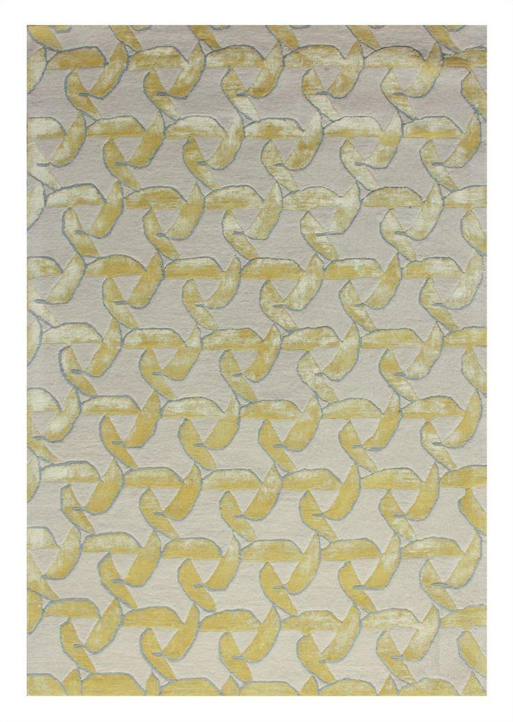 Modern - Fan - yellow 40272  5.00 x 3.50m New Zealand Wool Hand-Tussock Was R 66 500 -50 % Now R 33 250