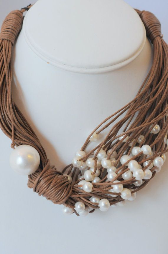 Pearl Necklace (This would be cute with a pin in place of the big pearl)