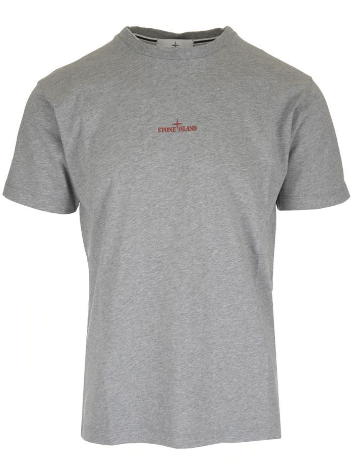 Stone Island Grey Logo T Shirt Stoneisland Cloth Stone Island Tshirt Logo Mens Tops