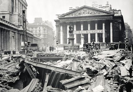 Bomb damage at the Bank Underground Station: 1941. Arthur Cross and Fred Tibbs. The crater outside the Royal Exchange was so wide and so deep the Royal Engineers had to build a bridge across it.