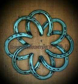 Horseshoe Wreath 8 horseshoes welded to make by KadysKustomKrafts