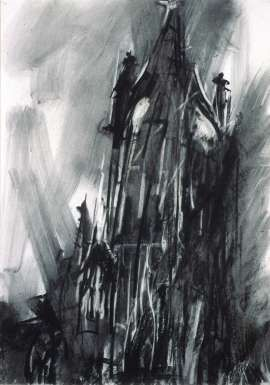 Part of spectacular series of charcoal drawings made in 1987-8. Coventry: The Old Cathedral Spire by Dennis Creffield