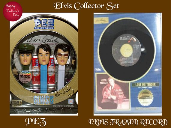 Fathers Day Special-  Elvis Memoriabilia Gift Set-  One Elvis Collector Plack with a Gold Record and Two- Elvis Collectable Pez Dispenser