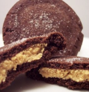 PB filled chocolate cookies HUGE hit! Don't wait for them to crack on top...they don't!