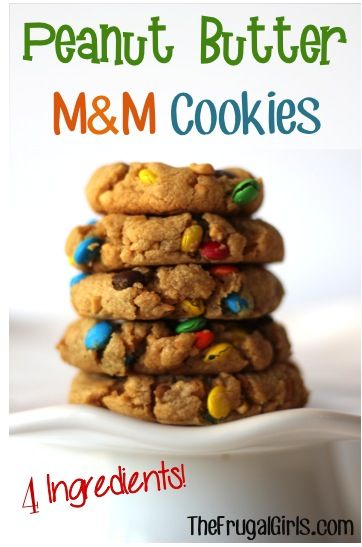 Peanut Butter M and M Cookies! ~ from TheFrugalGirls.com ~ this easy cookie recipe can be made in a jiffy with just 4 ingredients! #peanutbutter #cookies #recipe
