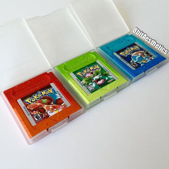 Custom Nintendo Gameboy Pokemon Red Blue Green Cartridge with New Save Battery by 8bitAesthetics