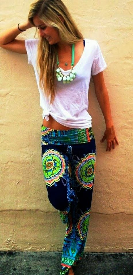 White blouse and colorful pants