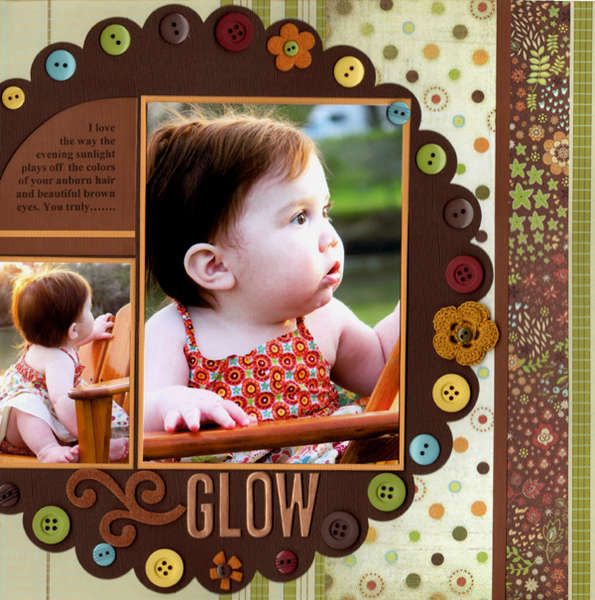 Cute Two Photo Scrapping Page...with scalloped circle & colorful buttons.