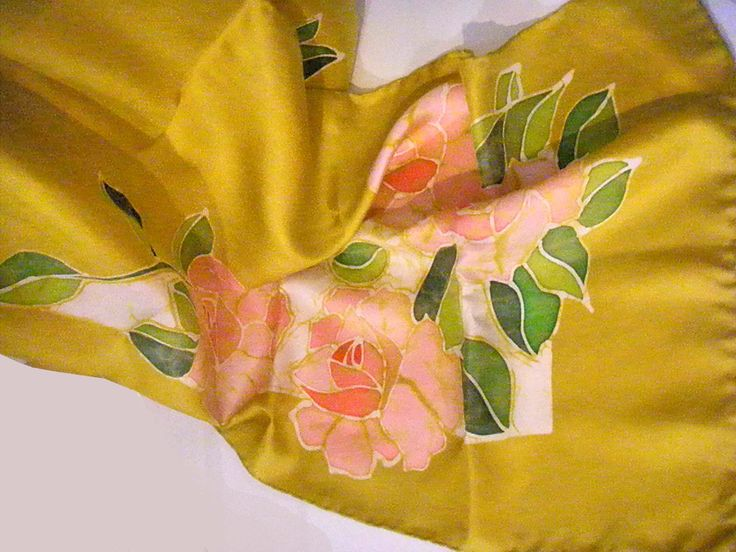 """roses"" batik handpainted silk scarf www.ilgiardinodellacerorosso.com"