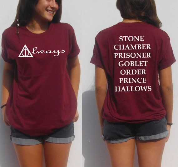 Always Harry potter shirt back and front print book movie Hogwarts tee teens boy girl fan gift