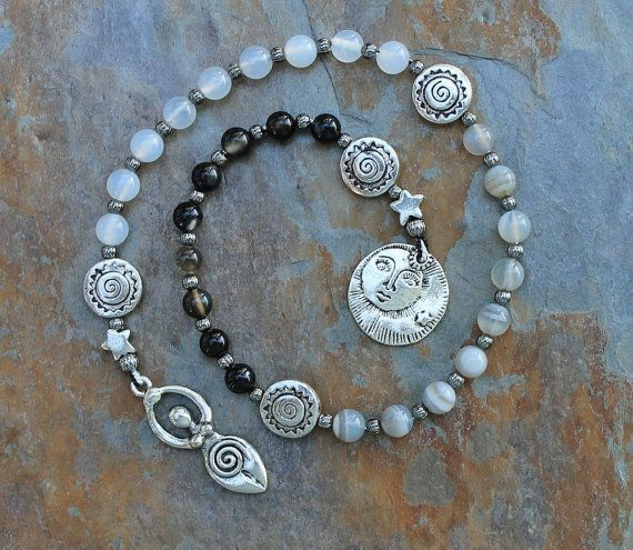Moon Goddess Pagan Prayer beads can be a useful tool for meditation or focusing spiritual energies. This set is comprised of Black Agate, White