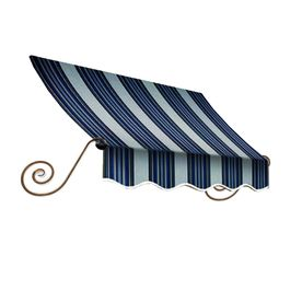 Awntech 172.5-In Wide X 12-In Projection Navy/Gray/White Stripe Open Slope Window/Door Awning Ch21-14Nw